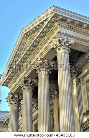 Neoclassical architecture with columns from the City Hall in New York City - stock photo