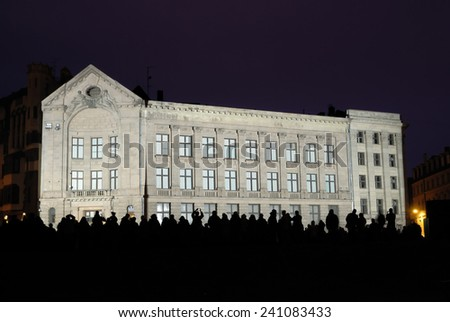 Neoclassical building of the Dome Square in Riga at night  - stock photo
