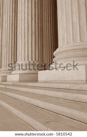 Neoclassical Columns with Steps - stock photo