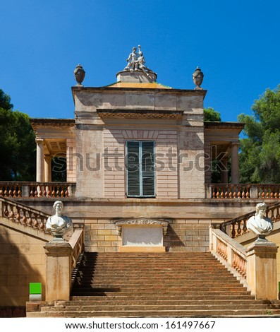 Neoclassical pavilion at Labyrinth Park of Horta in summer day. Barcelona  - stock photo