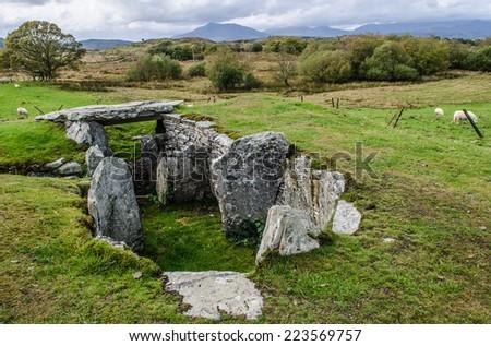 Neolithic Burial mound near Capel Garmon in Snowdonia Wales - stock photo
