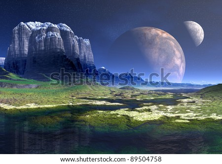 Neomas Moons, Alien Landscape part 01, fantasy landscape on an alien planet with high mountains, water and greens - stock photo