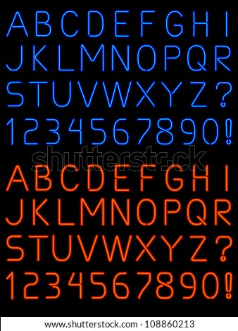 Neon alphabet font - raster - stock photo