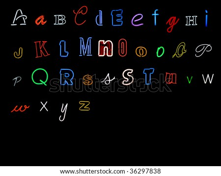 neon alphabet letters, A to Z - stock photo