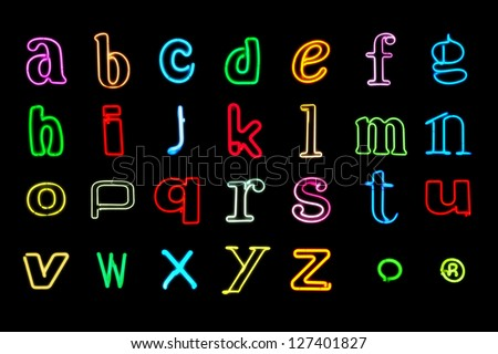Neon Alphabet letters. Set 5. Lower case. Photographs. - stock photo