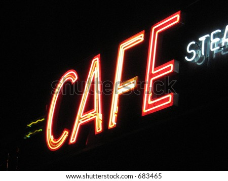 Neon cafe sign - stock photo