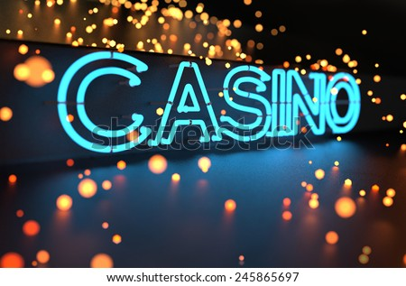 Neon Casino Sign - stock photo