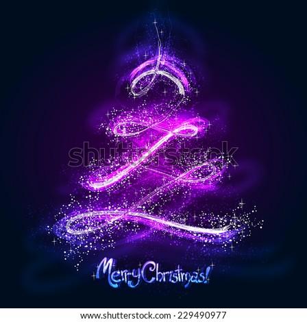 Neon Christmas tree - stock photo
