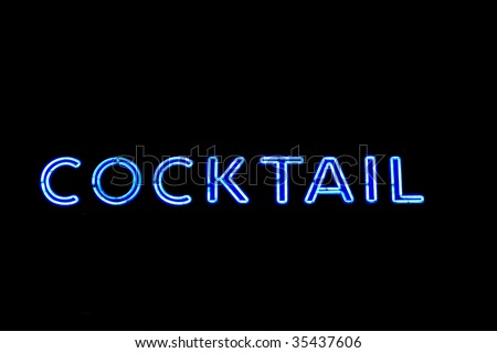 Neon cocktail sign - stock photo