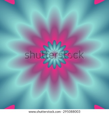Neon colors explosion.  Digital abstract image with a psychedelic flower design in neon blue, green, and pink. - stock photo