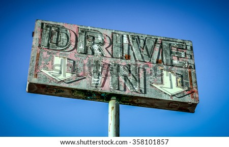 Neon drive in sign - stock photo