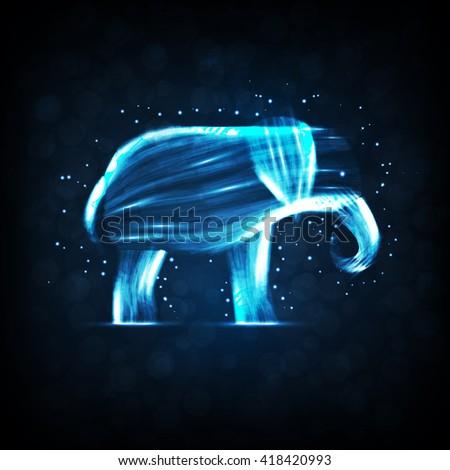 Neon elephant, abstract futuristic strip, stylish illustration  - stock photo