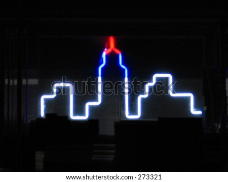neon empire state building sign - stock photo