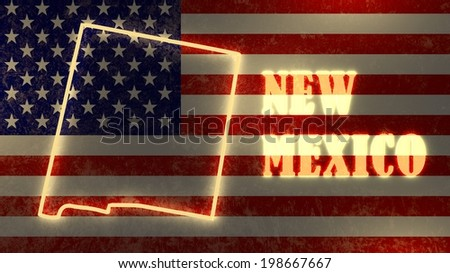 neon glowing outline map of the new mexico state on usa national flag backdrop - stock photo