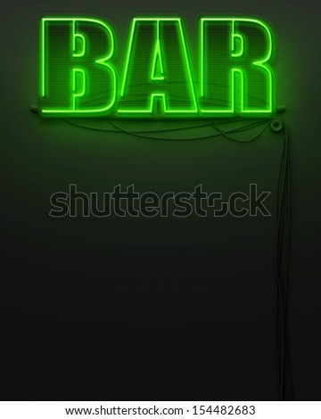 Neon glowing sign with word Bar and copyspace - stock photo