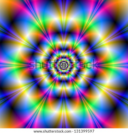 Neon Hexagons / Digital abstract fractal image with a psychedelic neon hexagon design in blue yellow green and pink. - stock photo