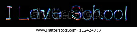 Neon inscription I Love School - stock photo