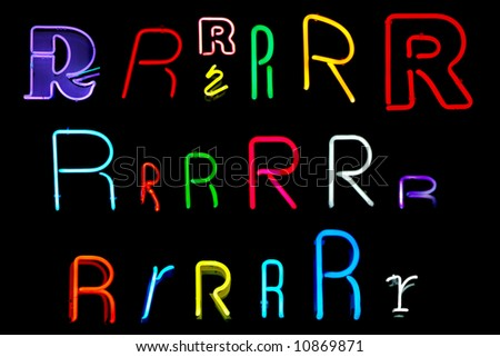 Neon letters R collected from neon signs for design elements - stock photo