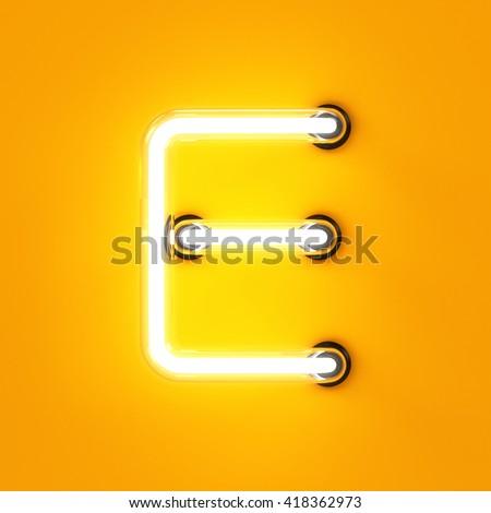 Neon light alphabet character E font. Neon tube letters glow effect on orange background. 3d rendering - stock photo
