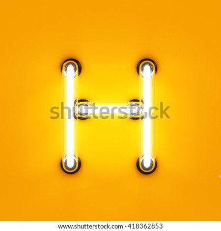 Neon light alphabet character H font. Neon tube letters glow effect on orange background. 3d rendering - stock photo