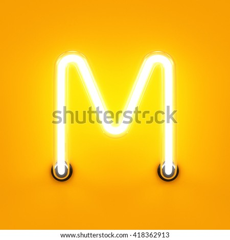 Neon light alphabet character M font. Neon tube letters glow effect on orange background. 3d rendering - stock photo