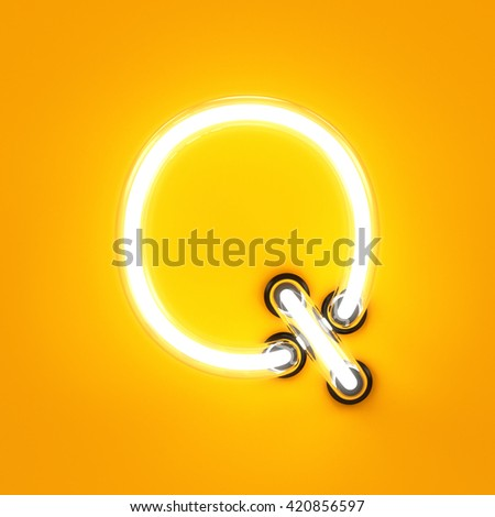 Neon light alphabet character Q font. Neon tube letters glow effect on orange background. 3d rendering - stock photo