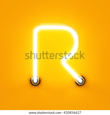 Neon light alphabet character R font. Neon tube letters glow effect on orange background. 3d rendering - stock photo