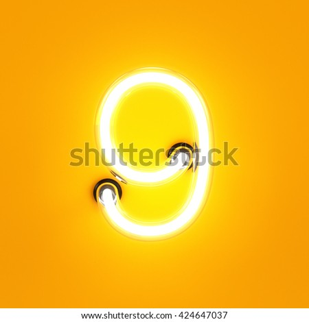 Neon light digit alphabet character 9 nine font. Neon tube letter glow effect on orange background. 3d rendering - stock photo