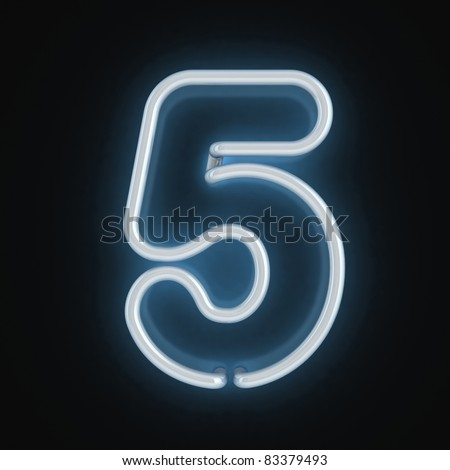 neon light font number five - stock photo