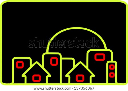 Neon lines define a simple silhouette of a city at night. - stock photo