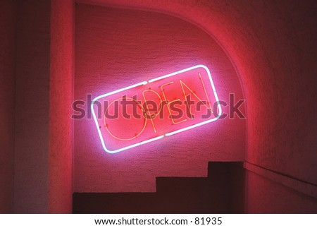 Neon open bar sign   - stock photo