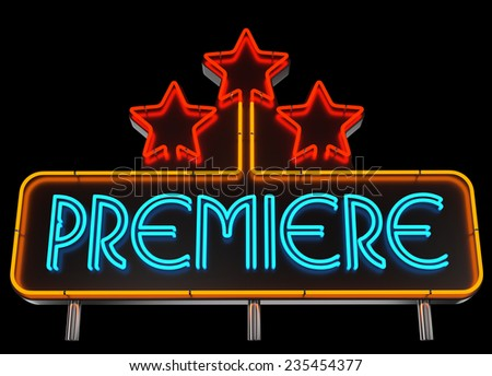 Neon Premiere Sign on Dark Background - stock photo