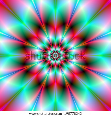 Neon Rose / A digital abstract fractal image with an eight petal flower pattern in turquoise and pink. - stock photo