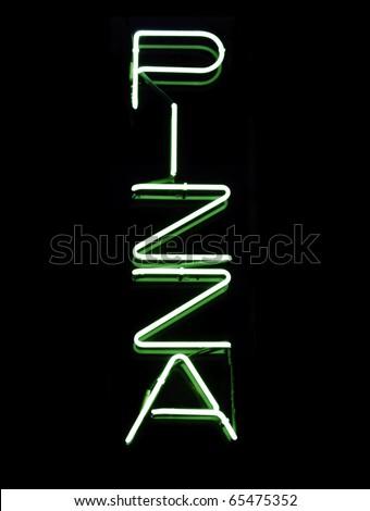 Neon sign in window of pizzeria - stock photo