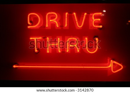 "Neon Sign series  ""Drive through ----->"" - stock photo"