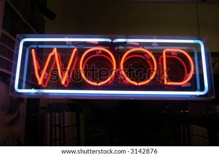 Neon Sign series  wood - stock photo