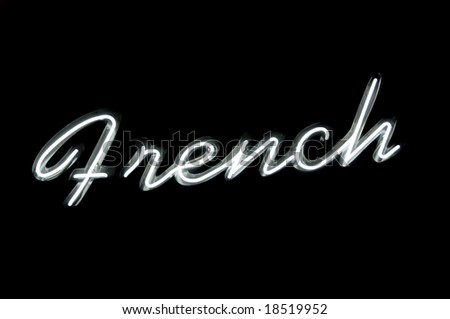 """Neon sign with the word """"french"""" over black - stock photo"""