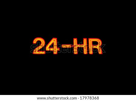 "Neon sign with the word ""24-hour"" over black - stock photo"