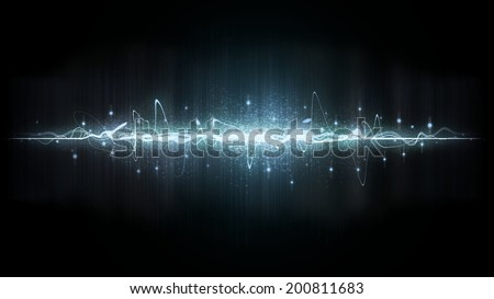 Neon sound waves. Elements Helftoun Square. Music round background of a form of a wave. - stock photo