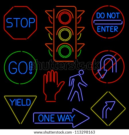 Neon Traffic Signs - raster - stock photo