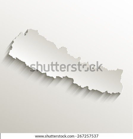 Nepal map card paper 3D natural raster - stock photo