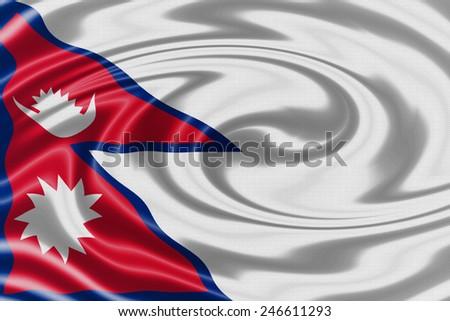 Nepal waving flag - stock photo