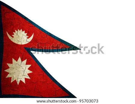 Nepalese flag on a cracked grunge background - stock photo