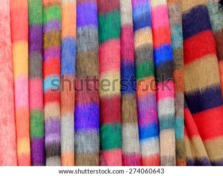 Nepalese national fabric, background  - stock photo
