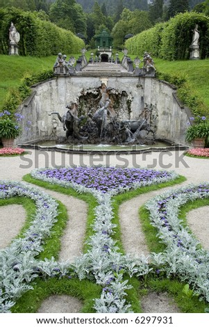 Neptune Fountain and Music Pavilion - Royal Castle Linderhof - Germany - stock photo