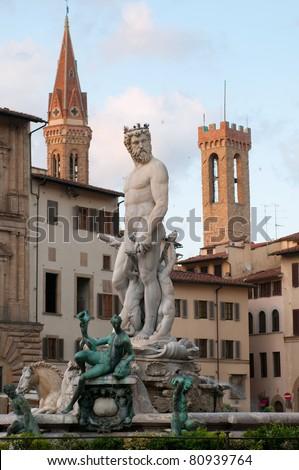 Neptune fountain on Piazza della Signoria in Florence, Tuscany, Italy. - stock photo