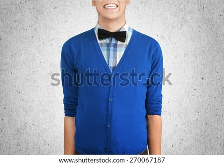 Nerd. Bow Tie Smile Business Man with Copy Space - stock photo