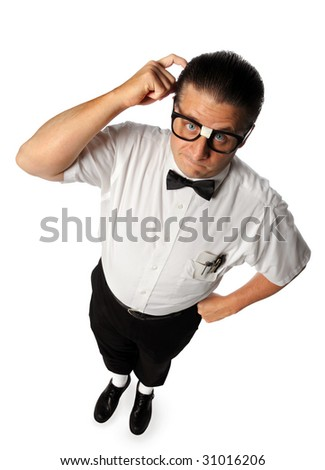Nerd guy scratching head isolated over white background - stock photo