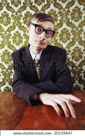 Nerd in an office - stock photo