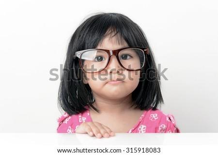 Nerd little girl portrait - stock photo